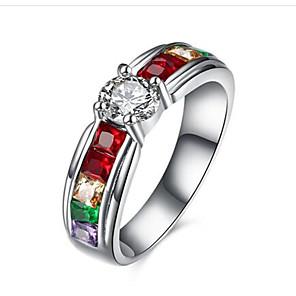 povoljno Waljkie talky uređaji-Žene Prsten Kubični Zirconia Sintetički dijamant Titanij Tikovina Krug Moda Čestitamo Dar Jewelry