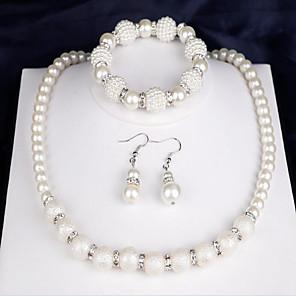 ieftine Seturi de Bijuterii-Pentru femei Seturi de bijuterii de mireasă femei Modă Elegant De Fiecare Zi Perle cercei Bijuterii Alb Pentru Nuntă Petrecere Aniversare Felicitări Cadou Zilnic