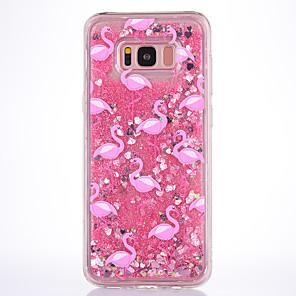 ieftine Ceasuri Brățară-Maska Pentru Samsung Galaxy S8 Plus / S8 / S7 edge Scurgere Lichid / Transparent / Model Capac Spate Flamingo Moale TPU
