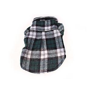 ieftine Imbracaminte & Accesorii Căței-Câine Tricou Tartan / Carouri Casul / Zilnic Îmbrăcăminte Câini Rosu Albastru Verde Costume Bumbac XS S M L XL