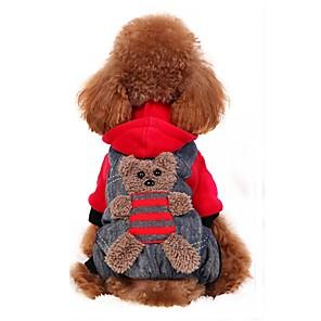 ieftine Imbracaminte & Accesorii Căței-Câine Costume Haine Hanorace cu Glugă Urs Petrecere Cosplay Modă În aer liber Iarnă Îmbrăcăminte Câini Galben Rosu Costume Flanel anyaga Bumbac XS S M L XL XXL