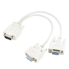 ieftine DVI-vga SVGA 15 pini de sex masculin la dublu 2 monitor femeie adaptor y splitter cablu de cablu
