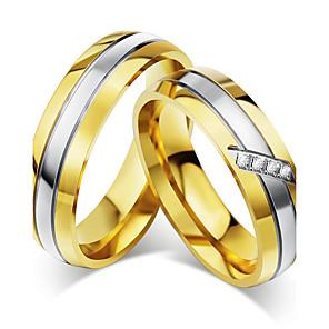 ieftine Inele Cuplu-Pentru cupluri Inele Cuplu Zirconiu Cubic Auriu Zirconiu Cubic Oțel titan Rotund Vintage Elegant Nuntă Aniversare Bijuterii / Logodnă