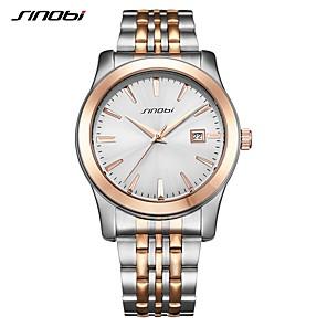 ieftine Ceasuri Bărbați-SINOBI Bărbați Ceas de Mână Japoneză Quartz Oțel inoxidabil Argint 30 m Rezistent la Șoc Analog Lux Casual Modă - Aur / argint / alb