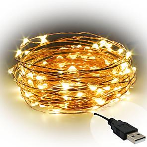 ieftine Fâșii Becurie LED-10m Fâșii de Iluminat 100 LED-uri SMD 0603 1 buc Alb Cald / Alb / Roșu Decorativ Alimentat USB / IP65