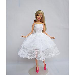 ieftine Haine Păpușă Barbie-Accesorii pentru papusi Haine de Păpușă Rochie de papusa Rochie de mireasă Petrecere / Seară Nuntă Rochie De Bal Tul Dantelă Poliester Pentru păpușă de 11,5 inci Jucărie făcută manual pentru / Copii