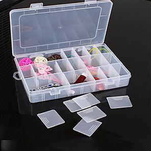 ieftine Stocare și Organizare-24 compartiment reglabil dreptunghi container de plastic de depozitare bijuterii bijuterii cutie