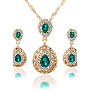 ieftine Audio & Video-Pentru femei Cristal Seturi de bijuterii Pandative Colier / cercei Pară Solitaire două pietre Picătură femei Lux Stil Atârnat Modă Euramerican Elegant Cristal Ștras cercei Bijuterii Verde / Rosu