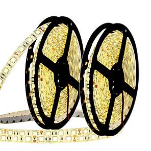 ieftine Benzi Lumină LED-HKV 10m Fâșii De Becuri LEd Flexibile 300 LED-uri 5050 SMD 10mm 2pcs Alb Cald Alb Albastru Ce poate fi Tăiat De Legat Auto- Adeziv 12 V
