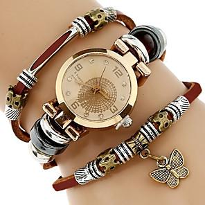 ieftine Brățări-Pentru femei femei Ceas Brățară ceasul cu ceas Quartz Wrap Piele PU Matlasată Maro Rezistent la Apă Creative Analog Casual Modă Elegant - Negru Maro Verde Un an Durată de Viaţă Baterie