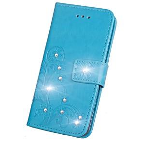 ieftine Benzi Lumină LED-Maska Pentru Samsung Galaxy S9 / S9 Plus / S8 Plus Stras / Întoarce / Embosat Carcasă Telefon Mandala / Fluture Greu PU piele