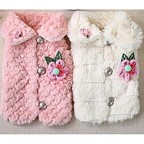 ieftine Imbracaminte & Accesorii Căței-Câine Haine Iarnă Îmbrăcăminte Câini Alb Roz Costume Sintetic Floral / Botanic Casul / Zilnic XS S M L XL