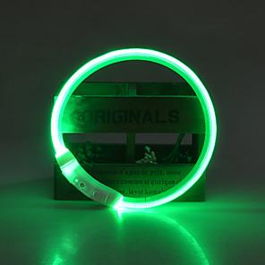 ieftine Câini Gulere, hamuri și Curelușe-Câine Gulere Lumini LED Ajustabile / Retractabil Reîncărcabil Mată TPU Verde Albastru Roz