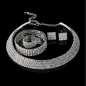 ieftine Cercei-Pentru femei Cercei Stud Lănțișor Brățară femei Lux Modă Bling bling Ștras cercei Bijuterii Alb Pentru Nuntă