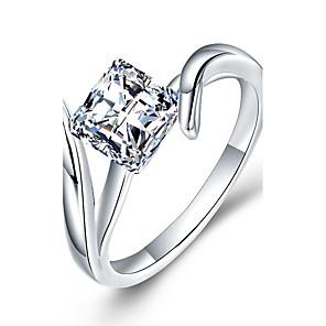 ieftine Inele-Pentru femei Band Ring inel de înfășurare Diamant Zirconiu Cubic Diamant sintetic Alb Plastic Zirconiu Ștras Geometric Shape femei Lux Clasic Crăciun Nuntă Bijuterii Solitaire simulat Muchie de cuțit