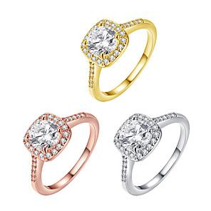 ieftine Inele-Pentru femei Band Ring Micro inel de pavele Diamant Zirconiu Cubic Roz auriu Auriu Argintiu Zirconiu Pătrat femei Modă de Mireasă Nuntă Petrecere Bijuterii Solitaire Emerald Cut HALO Ajustabil