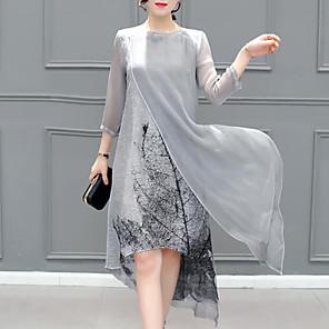 Χαμηλού Κόστους Print Dresses-Γυναικεία Ασύμμετρο Μεγάλα Μεγέθη Γκρίζο Φόρεμα Καλοκαίρι Εξόδου Σιφόν Στάμπα Πολυεπίπεδο Τ M
