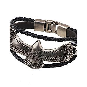 ieftine Brățări-Bărbați Pentru femei Bratari din piele țesut Vultur Modă Hip-Hop Placat Auriu Bijuterii brățară Negru / Cafea Pentru Casual Club