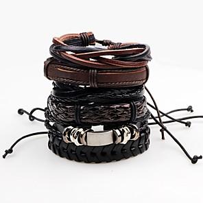 ieftine Brățări-Bărbați Bratari Wrap Bratari din piele Funie Răsucit țesut Rock Paracord Bijuterii brățară Negru Pentru Scenă Club / Piele