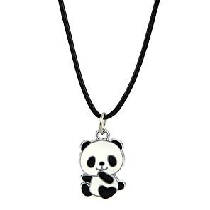 economico Collane Uomo-Per uomo Per donna Collane con ciondolo Panda Con animale Lega Nero Collana Gioielli Per Feste Serata
