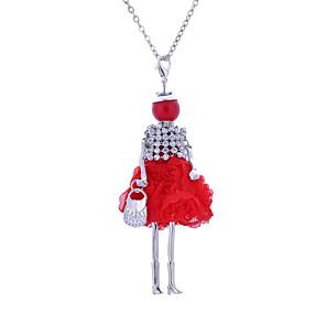 ieftine Colier la Modă-Pentru femei Coliere Lung Prinţesă femei Boem Boho Dantelă Aliaj Negru Rosu Albastru Închis Coliere Bijuterii Pentru Petrecere Casual