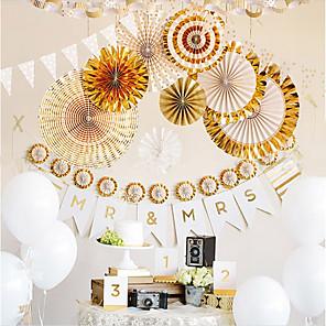 cheap Nail Care-8Pcs/Set Gold/Silver Handcraft Paper Fan Rosettes Folding Fan Flower Home Wedding Backdrop Decor Birthday Party Supplies