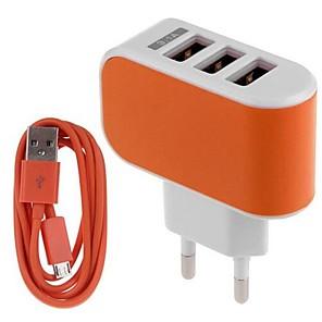 ieftine încărcător cu cablu-Încărcător Casă / Încărcător Portabil Încărcător USB Priză EU Kit de Încărcare / Multi Porturi 3 Porturi USB 3.1 A pentru