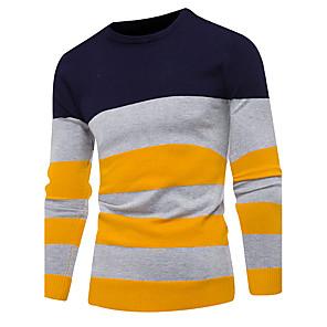 ieftine Coliere-Bărbați Zilnic / Ieșire De Bază Dungi Manșon Lung Scurt Plover Pulover pulovere, Rotund Toamnă / Iarnă Roșu-aprins / Bleumarin / Gri M / L / XL