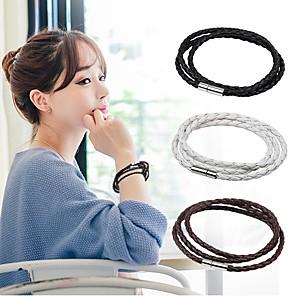 ieftine Brățări-Bărbați Pentru femei Bratari din piele Funie țesut Magnetic stil minimalist Modă Piele  Bijuterii brățară Negru / Alb / Cafea Pentru Casual Ieșire