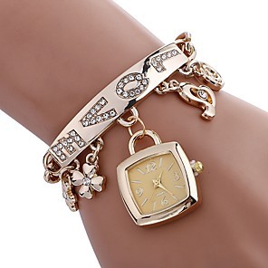 cheap Women's Watches-Women's Bracelet Watch Square Watch Quartz Stainless Steel Silver / Gold Water Resistant / Waterproof Creative Analog Ladies Charm Casual Fashion Elegant - Gold Silver