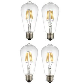 ieftine Lumini LED de Scenă-4 buc 6 W Bec Filet LED 560 lm E26 / E27 ST64 6 LED-uri de margele COB Decorativ Alb Cald Alb 220-240 V / RoHs