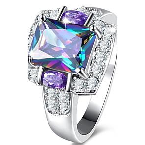 povoljno Prstenje-Žene Zaručnički prsten Dijamant Kubični Zirconia mali dijamant purpurna boja Zircon Legura Kvadrat dame Luksuz Klasik Vjenčanje Party Jewelry Pasijans simuliran