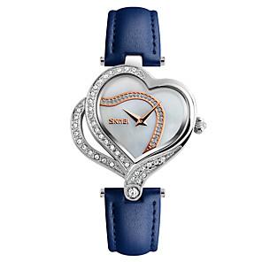 ieftine Cuarț ceasuri-SKMEI Pentru femei Ceas de Mână Diamond Watch Japoneză Quartz Piele Negru / Alb / Albastru 30 m Rezistent la Apă Creative Cool Analog femei Lux Heart Shape Casual Modă - Negru Rosu Albastru