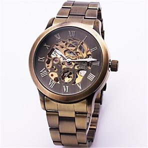 ieftine ceasuri digitale pentru femei-Bărbați Ceas Schelet ceas mecanic Mecanism automat Bronz 30 m Rezistent la Apă Gravură scobită Analog Vintage - Bronz