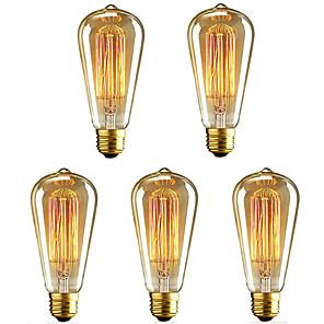 ieftine Becuri Incandescente-5pcs 40 W E26 / E27 ST64 Alb Cald 2200-2700 k Retro / Intensitate Luminoasă Reglabilă / Decorativ Incandescent Vintage Edison bec 220-240