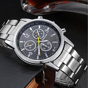 preiswerte Uhren Herren-Herrn Uhr Armbanduhr Quartz Edelstahl Silber Wasserdicht Analog Charme Schwarz Orange Blau