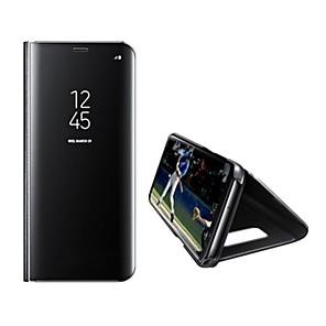 Недорогие Чехлы и кейсы для Galaxy S6 Edge-Кейс для Назначение SSamsung Galaxy S8 Plus / S8 / S7 edge со стендом / Зеркальная поверхность / Авто Режим сна / Пробуждение Чехол Однотонный Твердый Кожа PU