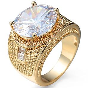 povoljno Prstenje-Uniseks Prestenje knuckle ring Zaručnički prsten Kubični Zirconia Crn Zlato Zircon Kamen Krug Luksuz Klasik Moda Vjenčanje Party Jewelry Pasijans Ovalnog simuliran