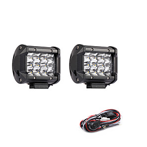ieftine Becuri De Mașină LED-2pcs 36w 3600lm 6000k 3 rânduri condus de lumină rece de culoare albă spot offroad lumina de conducere pentru masina / barca / far ip68
