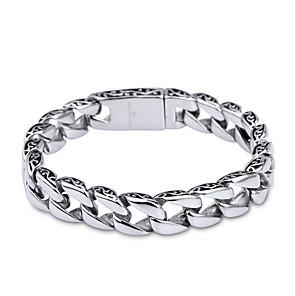 ieftine Brățări-Bărbați Brățări cu Lanț & Legături Design Unic stil minimalist Modă Teak Bijuterii brățară Argintiu Pentru Cadouri de Crăciun Zilnic Casual