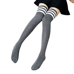 povoljno Lolita moda-školarke Žene Lolita čarape Thigh High Socks Obala Crn Sive boje Prugasti uzorak Dungi Iznad koljena Pamuk Lolita Pribor / Visoka elastičnost