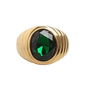 ieftine Ceasuri Bărbați-Bărbați Band Ring Inel sigiliu Zirconiu Cubic Negru Verde Rosu Oțel titan Declarație Vintage Rock Nuntă Zilnic Bijuterii Solitaire Oval Magie
