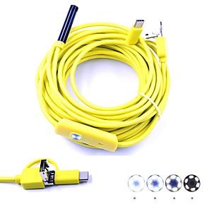ieftine Microscop & Lupă-3 în 1 inspecție endoscop USB usb camera mini 10m hardwire 7mm lentilă impermeabil ip67 șarpe cam 6 condus pentru pc Android