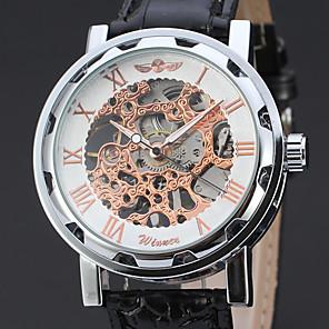 ieftine Ceasuri Bărbați-WINNER Bărbați Ceas Schelet Ceas de Mână Mecanism manual Piele Negru Gravură scobită Analog Clasic Vintage Elegant - Negru și Auriu Roz auriu / Alb / Oțel inoxidabil