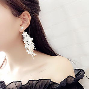 cheap Puppets-Women's Drop Earrings Long Ladies Tassel Gothic Korean Fashion Earrings Jewelry White / Black For Party Daily