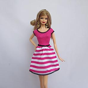 ieftine Haine Păpușă Barbie-Rochie de papusa Petrecere / Seară Dungi Tul Dantelă Poliester Jucărie făcută manual pentru cadourile de naștere ale fetei / Copii