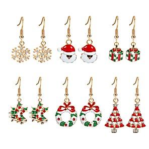 ieftine Cercei-Pentru femei Zirconiu Cubic Cercei Picătură Brad de Crăciun femei Zirconiu Placat Auriu cercei Bijuterii Curcubeu Pentru Crăciun Anul Nou 6
