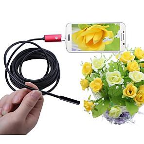 ieftine Becuri Solare LED-2 in 1 camera endoscop usb 5.5mm obiectiv 5m lungime roșu ip67 inspecție impermeabilă borescope pentru ferestre android șarpe cam
