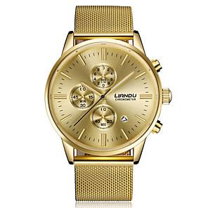 ieftine Ceasuri Bărbați-Bărbați Ceas de Mână Quartz Oțel inoxidabil Negru / Auriu Calendar Cronograf Analog Lux Clasic Casual Modă Elegant - Auriu Negru Un an Durată de Viaţă Baterie