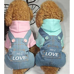 povoljno Odjeća za psa i dodaci-Pas Jumpsuits Pismo i broj Ležerno / za svaki dan Zima Odjeća za psa Plava Pink Kostim Beba Mali pas Pamuk XS S M L XL